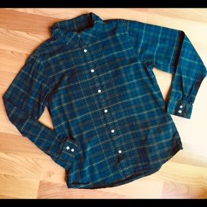 Land's End Button Up Green Plaid Pleated Girl Sz 8